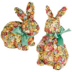 "Raz Imports 10.5"" Flower Rabbit 2 pc Set"