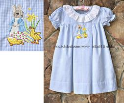 Smocked A Lot Girls Easter Dress Peter Rabbit Lace Outfit Bu