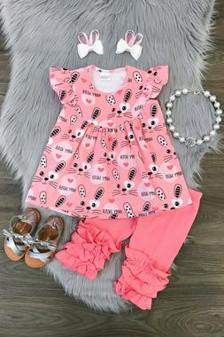 Girls Happy Easter Bunny Capri Set Spring Summer Easter Outf