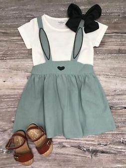 Girls, Toddler Blue Easter Bunny Rabbit Suspender Shirt Dres
