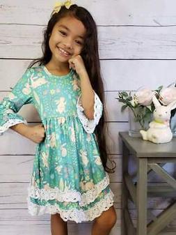 Girls, Toddler Easter Dress, Bunny Hop Turquoise Lace Boho O