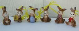 Goebel Porcelain Set of 6 Easter Bunny Rabbit Ornaments New