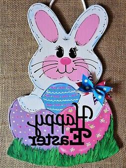 HAPPY EASTER Bunny Rabbit SIGN Wall Art Door Decor Hanger PL
