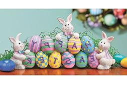 Happy Easter Centerpiece Bunnies with Easter Eggs Table Deco