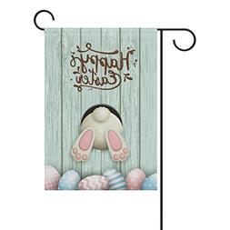 ALAZA Happy Easter Cute Bunny Polyester Garden Flag House Ba