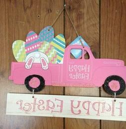 Happy Easter Eggs Bunny Feet Hanging Wall Pink Truck Decor D