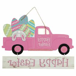 """""""Happy Easter"""" Pink Truck & Bunny/Eggs Hanging Wall Sign 13"""""""