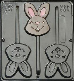 Happy Face Bunny Lollipop Chocolate Candy Mold Easter  884 N