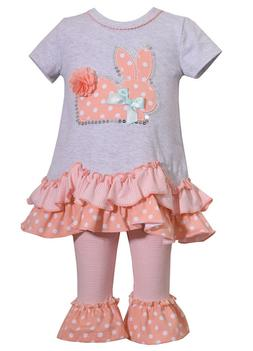 Bonnie Jean Holiday Easter Bunny Girls Peach Polka Dress and
