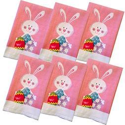 Hopping Fun Bunny 100% Cotton Kitchen Dish - Hand Towels - 6