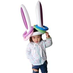 Inflatable Easter Bunny Ears Rabbit Hat Ring Toss Kids birth