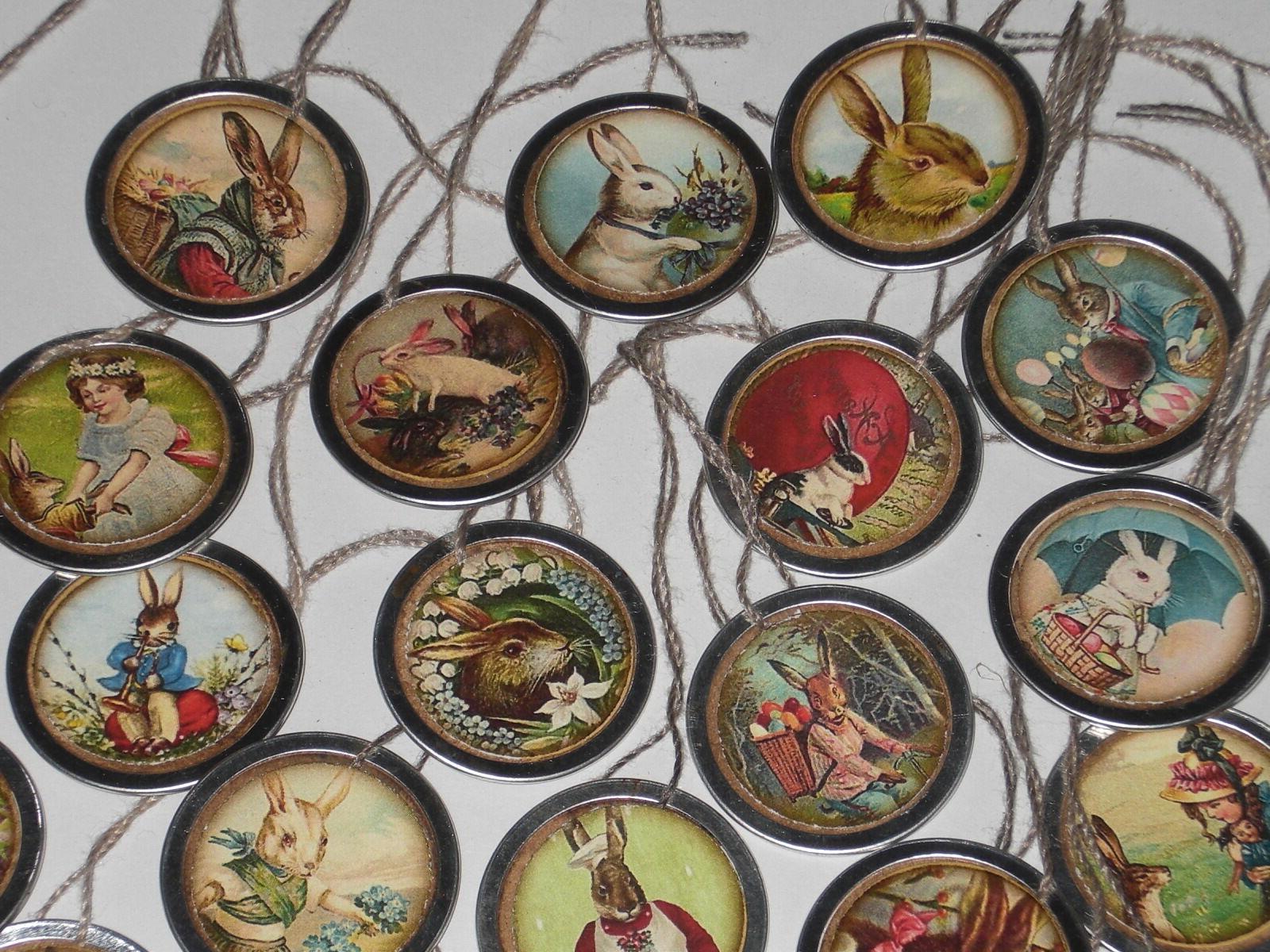 10 Easter Rim Hang Tags Mini Tree Ornaments