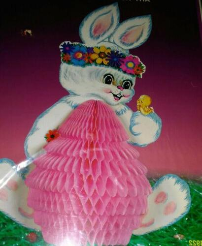 """12"""" EASTER BUNNY Beistle Tissue Centerpiece PACKAGED!"""