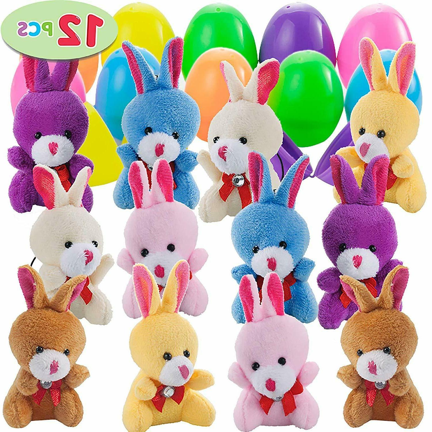 """12 PCs Filled Easter Eggs with Plush Bunny, 2.25"""" Bright C"""