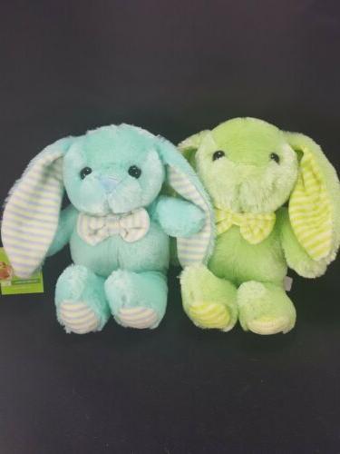 2 Stuffed Bunny Rabbits Plush Animals 9 Inch Blue Green East
