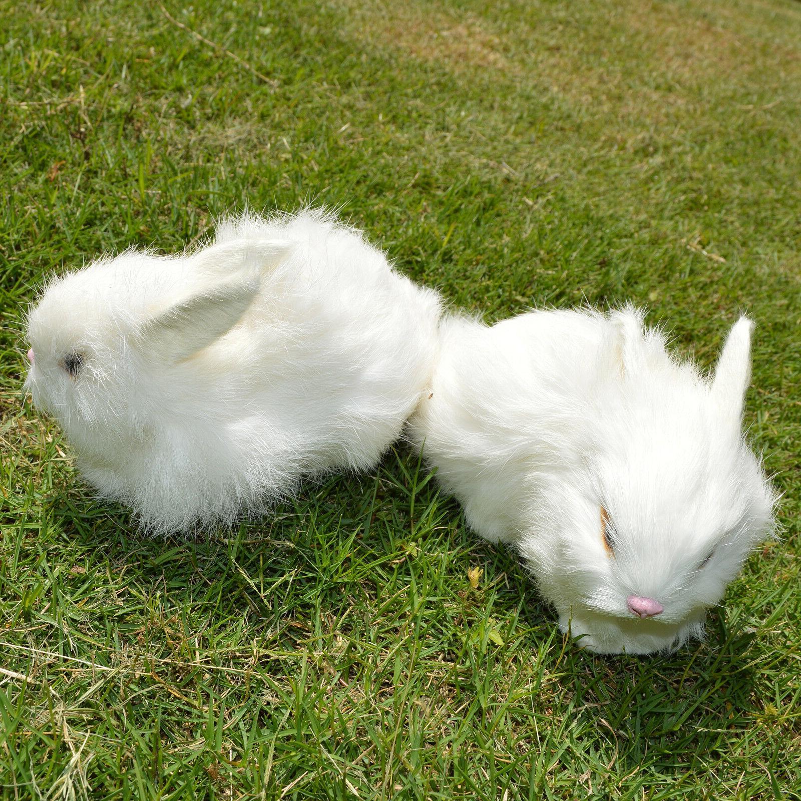 2 x Realistic White Plush Fur Lifelike Animal Bunnies
