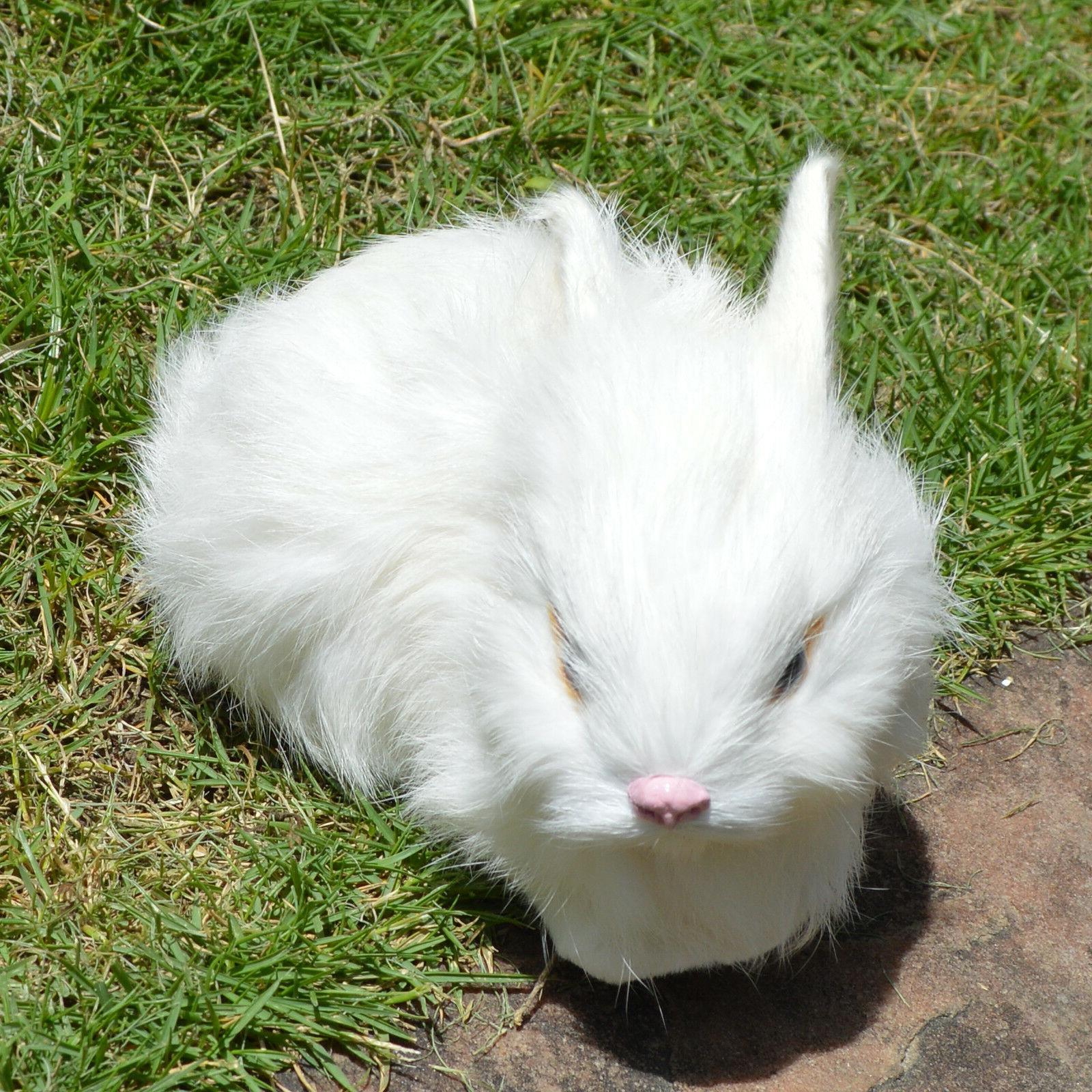 2 Mini White Lifelike Animal Bunnies