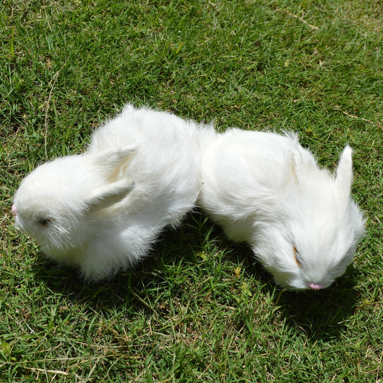 2 x Mini White Plush Lifelike