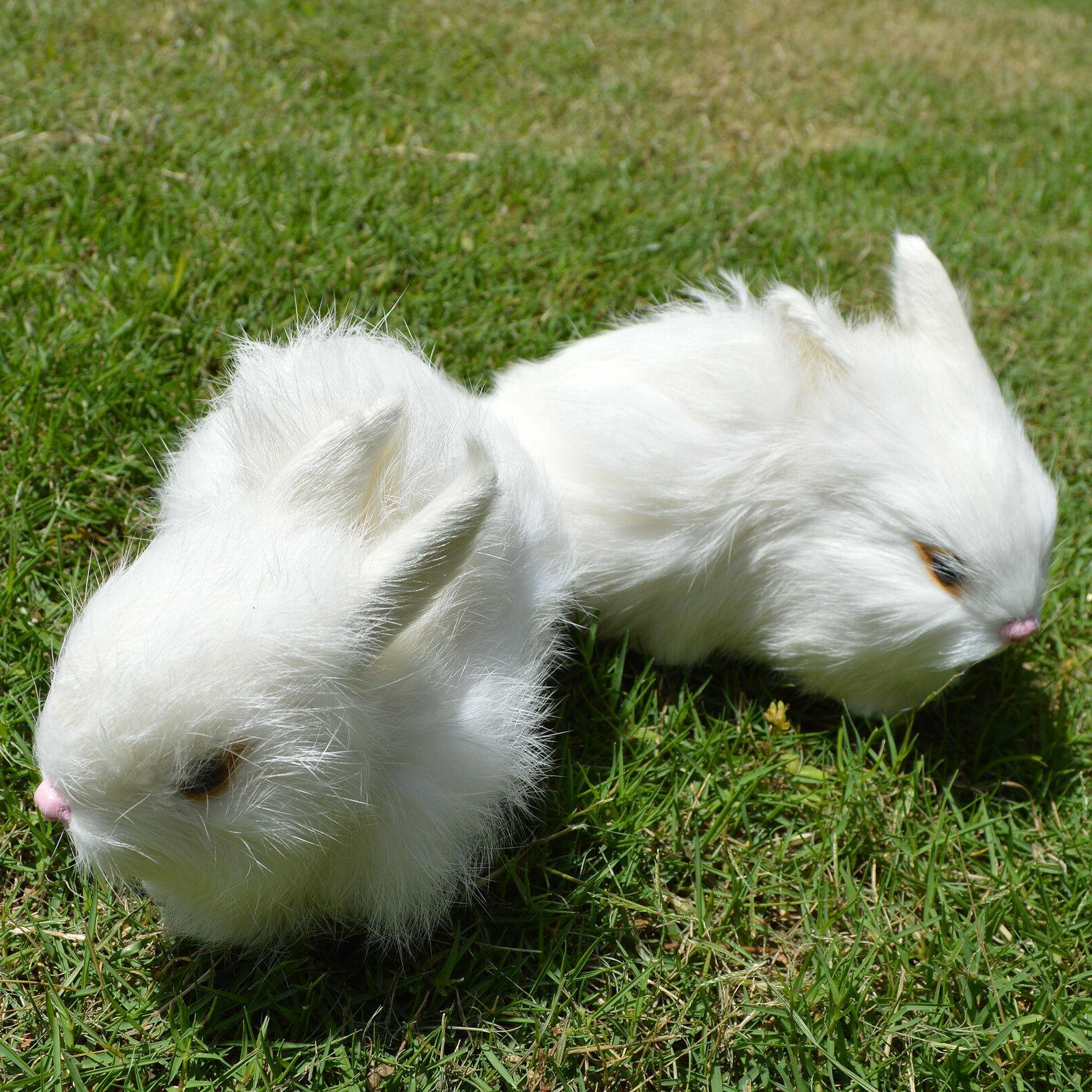 2 Realistic White Rabbits Fur Lifelike Furry Bunnies