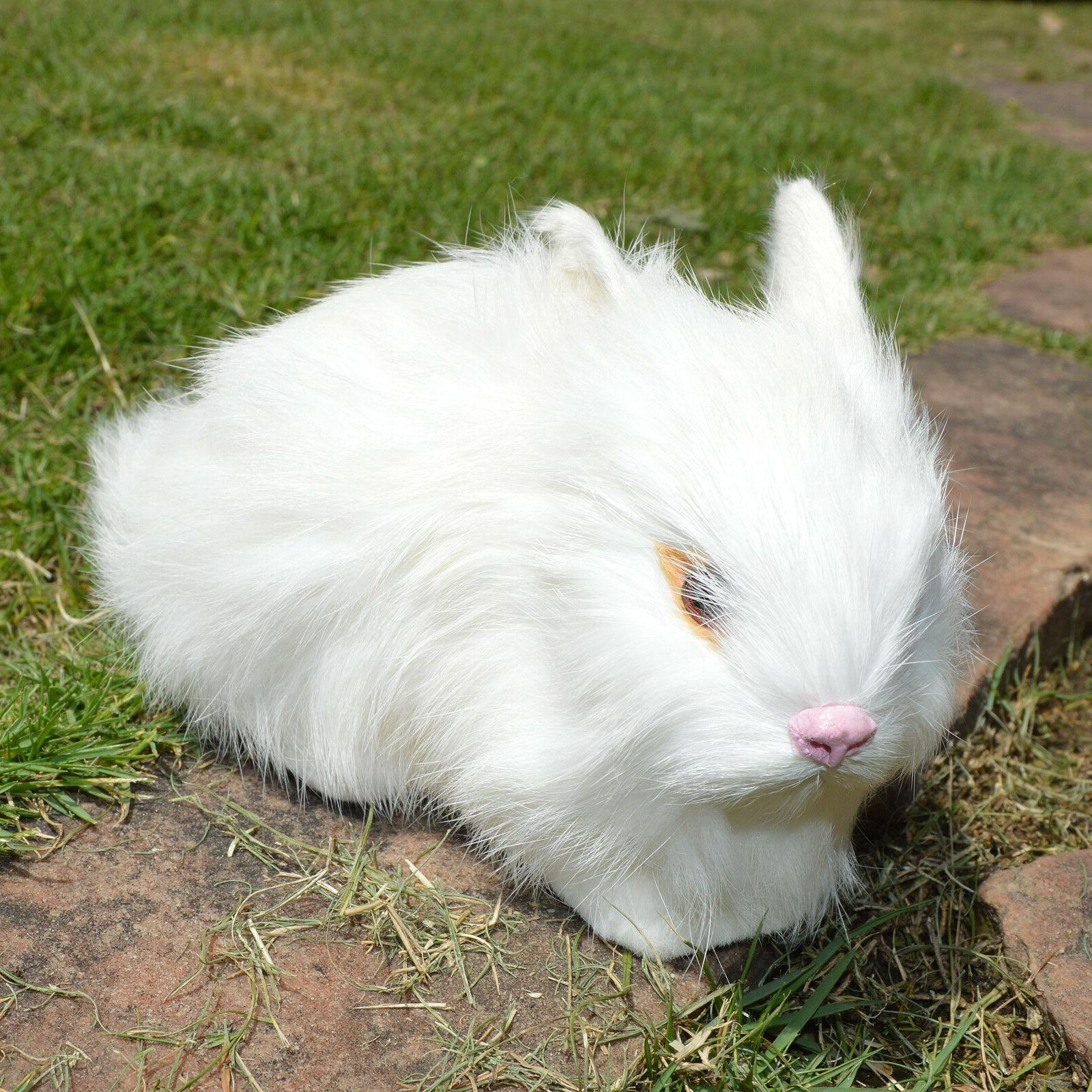 2 Realistic White Rabbits Fur Lifelike Animal Furry Easter Bunnies