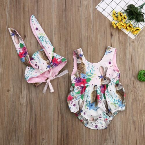 2019 Newborn Baby Easter Bodysuit Jumpsuit +Bunny Hat Outfit Set