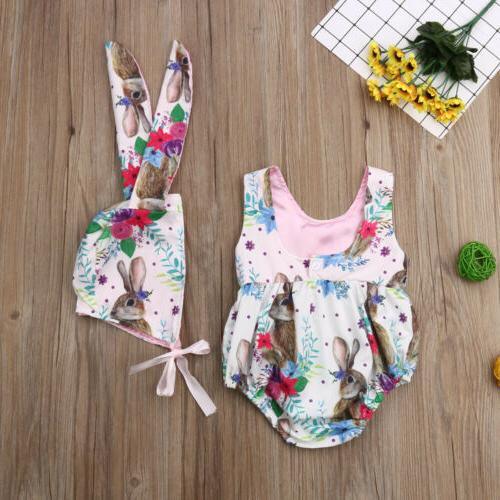 2019 Baby Easter Romper Bodysuit +Bunny Hat Outfit NEW Set
