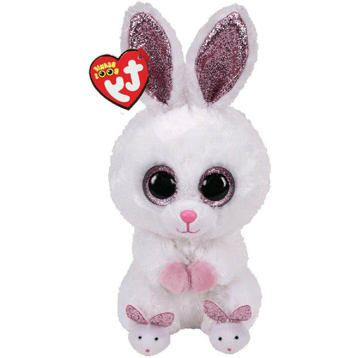 "2020 TY Beanie Boos 6"" SLIPPERS White Easter Bunny Rabbit St"