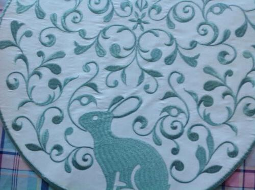 "4 RABBIT PLACEMATS 15"" ROUND INSPIRED TREASURES"