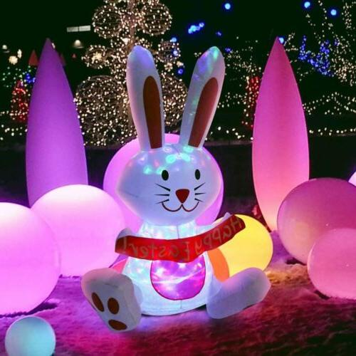 VIVOHOME Inflatable Happy Rabbit LED Yard