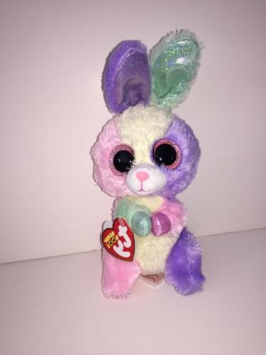 "TY BLOOM EASTER BUNNY 6"" BEANIE BOOS- NEW W/TAGS** VERY BRIG"