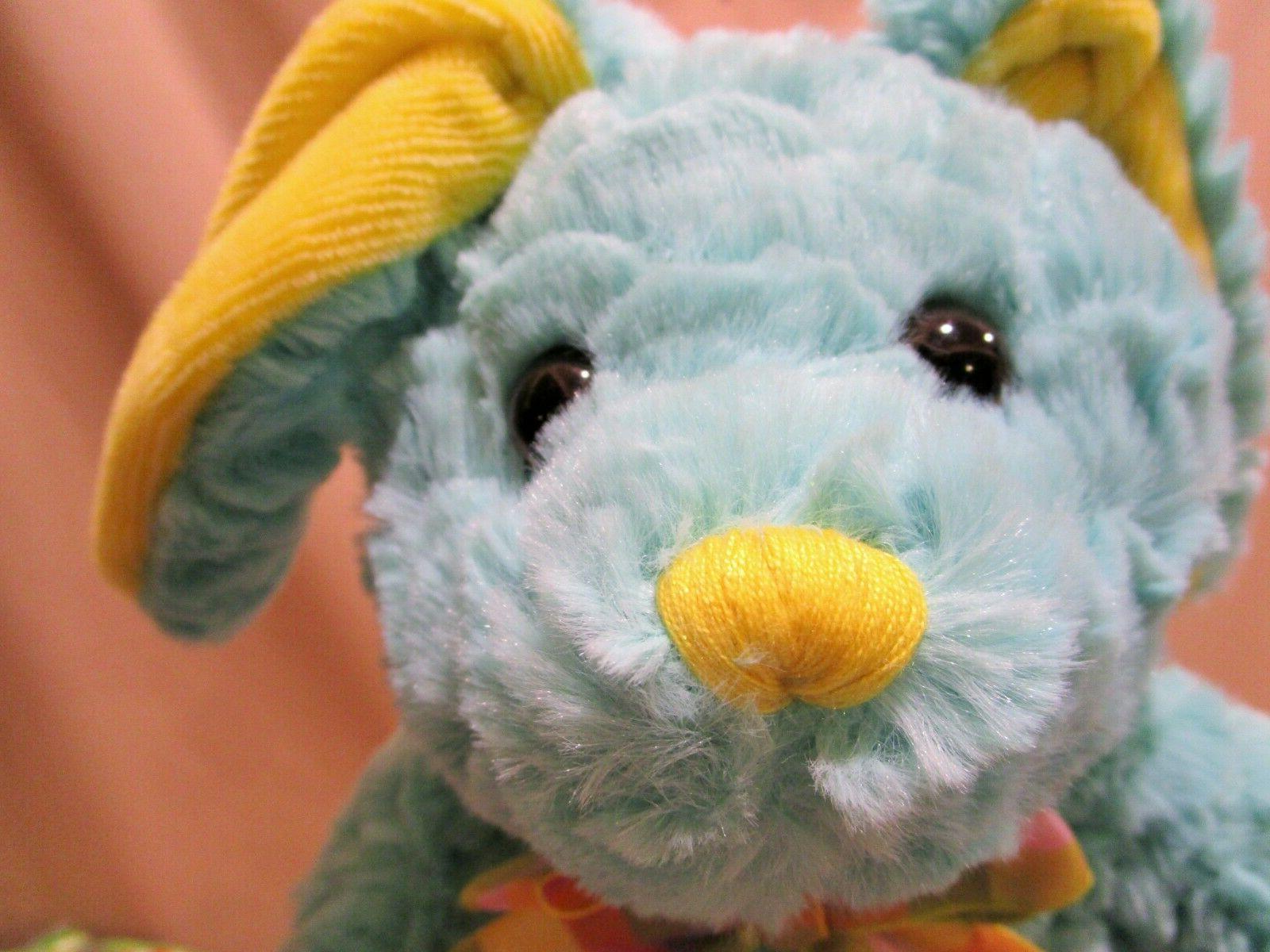 Aqua yellow Bunny Stuffed Baby Toy NEW w/ TAGS