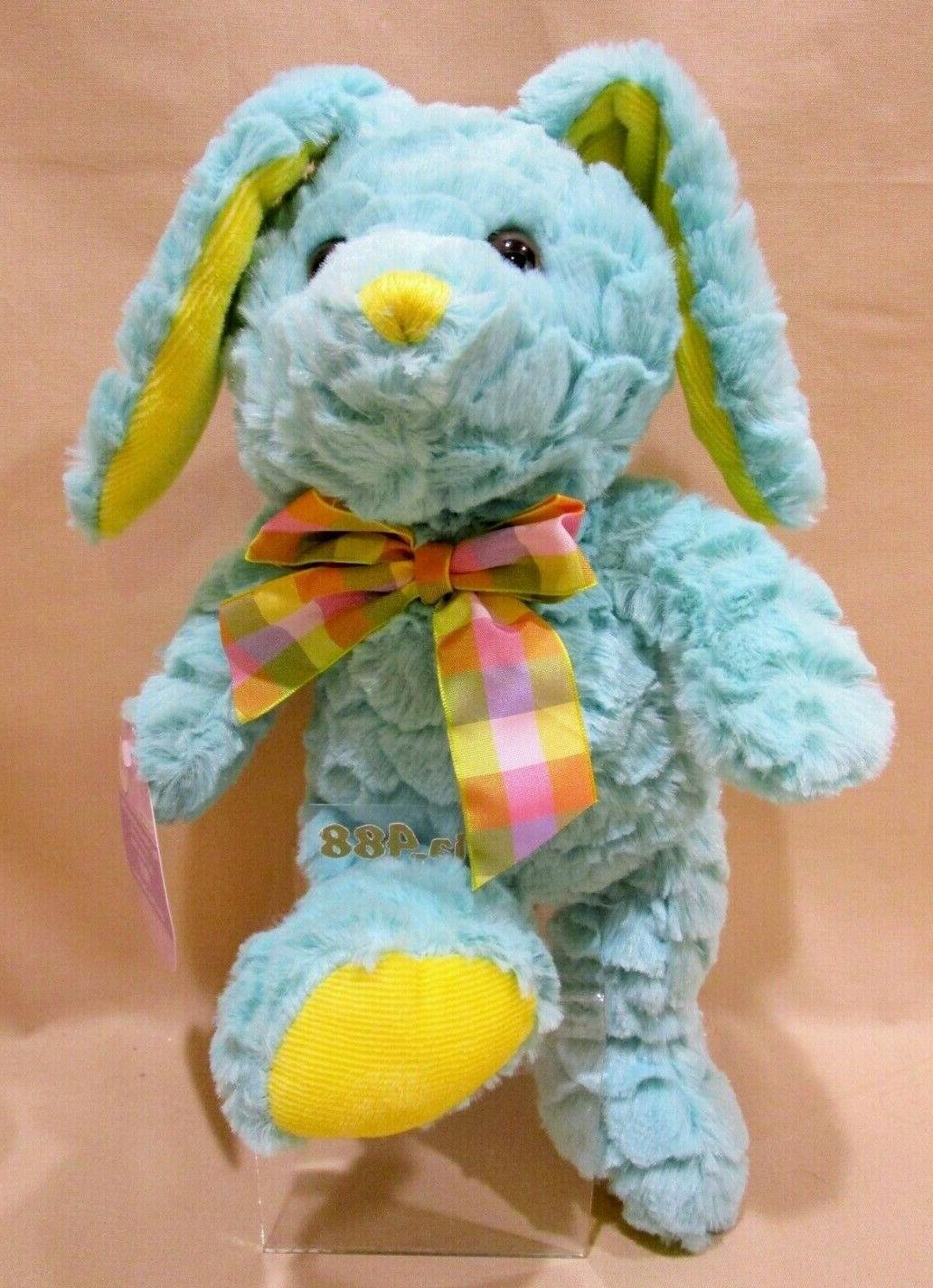 aqua yellow plush easter bunny rabbit stuffed