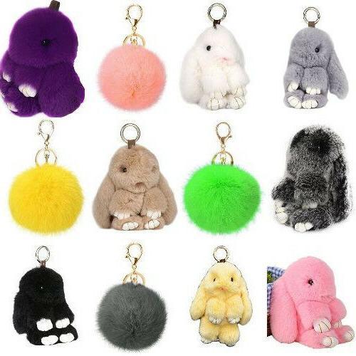 Bashful Bunny Doll Rabbit Fur Pom Key Chain Car Bag Charm Pe
