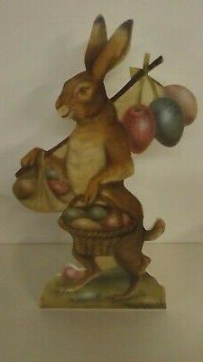 """Bethany Lowe 16"""" Dummy Board Easter Bunny Delivering Eggs BB"""