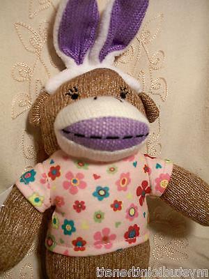 """Dan Dee Girl Sock Monkey Ears Plush Toy 13"""" Purple"""