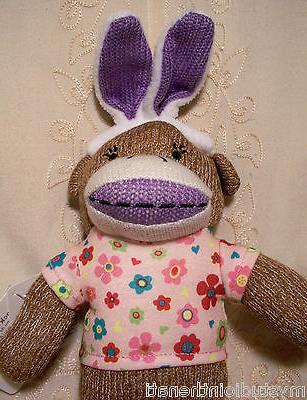 """Dan Dee Sock Bunny Ears 13"""" Purple Pink Basket"""