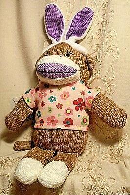 boy girl sock monkey easter bunny ears