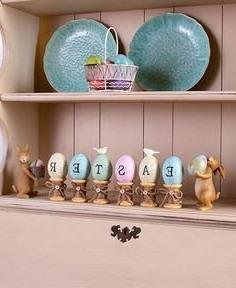 8-Pc Bunny Rabbit & Egg Figurine Set Easter Holiday Spring D