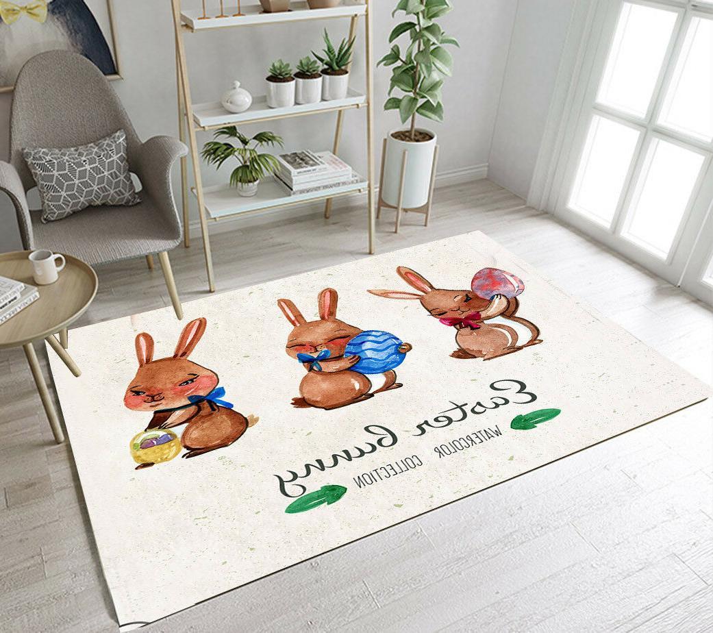 Watercolor Easter Bunny Floor Rug Mat Kids Bedroom Carpet Li