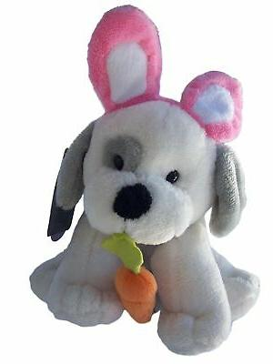 Dog Puppy Stuffed Animal Plush Gray Bunny Ears Carrot Easter