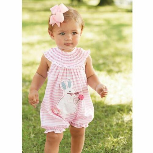 Mud Pie E7 Easter Baby Girl Pink Striped Bunny Bubble Romper