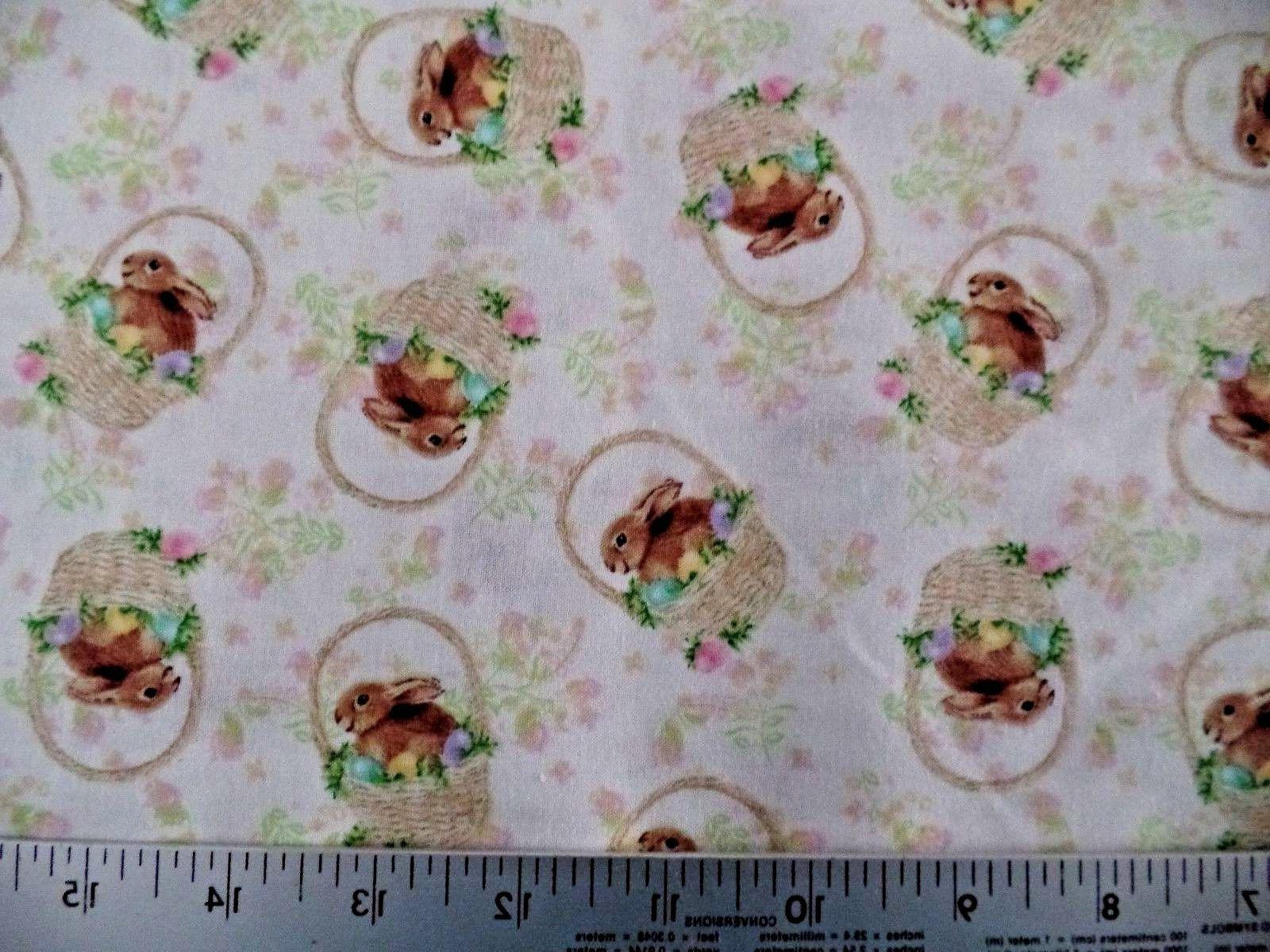 EASTER BUNNY BASKET PRINT 100% COTTON FABRIC  BY THE 1/2 YAR