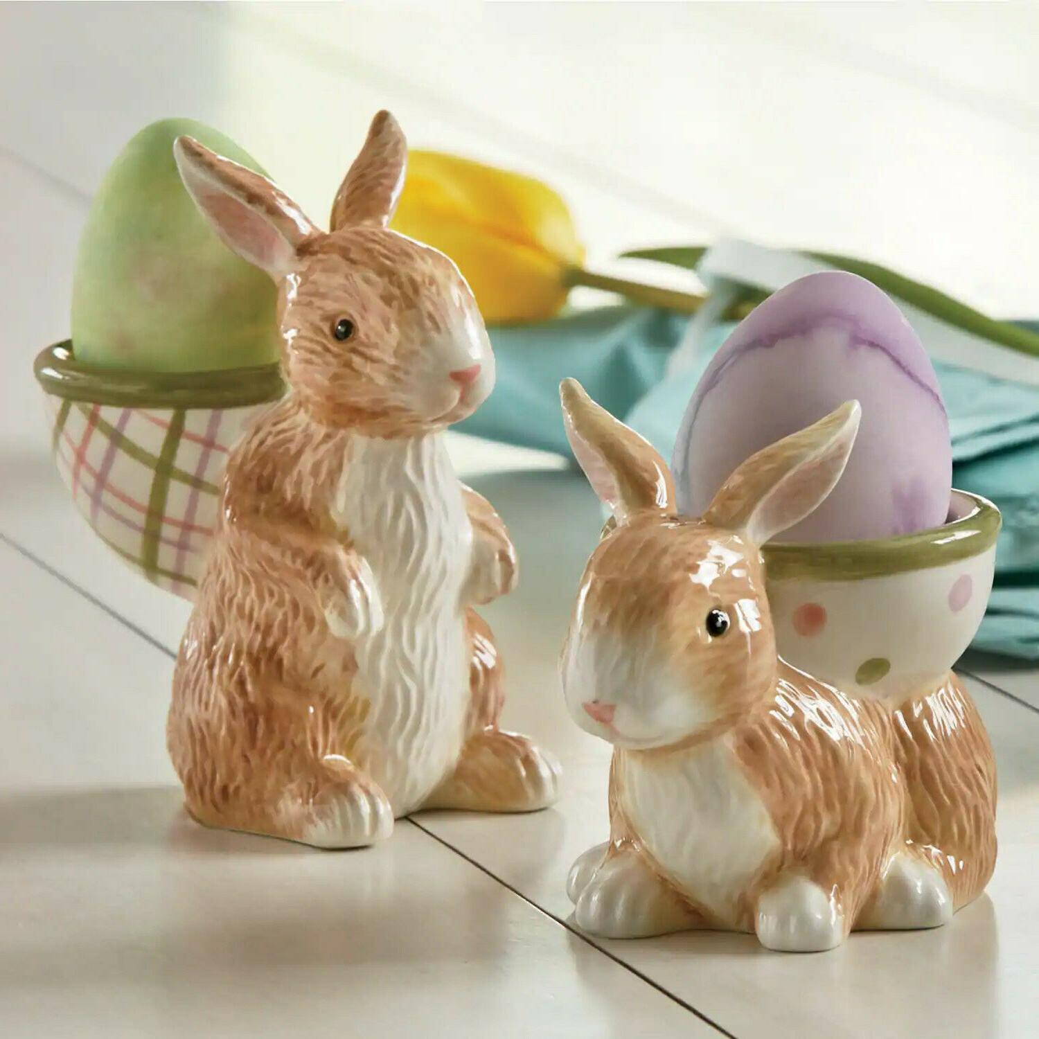 easter bunny egg cups set of 2