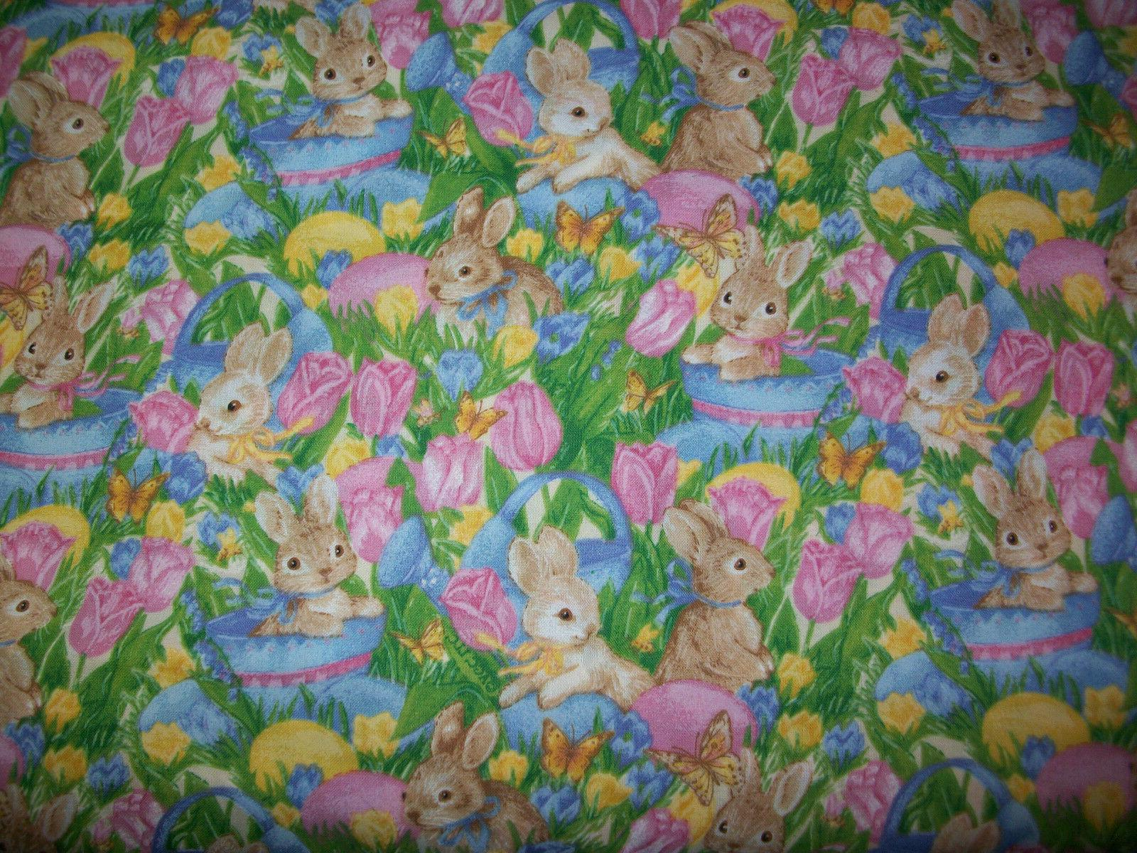 "Easter Bunny Fabric Easter Eggs. Basket, Tulips  34"" long"