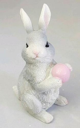 easter bunny pink egg figurine 3 5