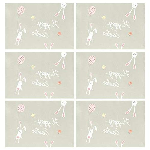 ALAZA Placemats for of Washable Polyester Kitchen Table Mats