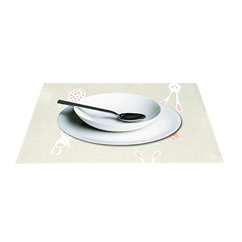 ALAZA Easter Bunny for Table of 6 Washable Mats