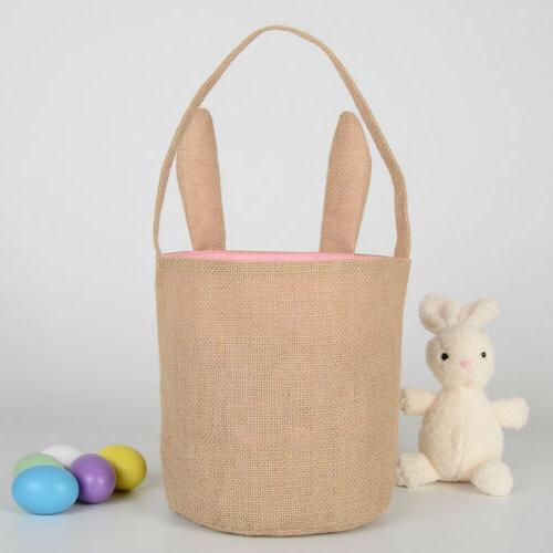 Easter Rabbit Ear Gift Jute Burlap Rabbit Bag US STOCK