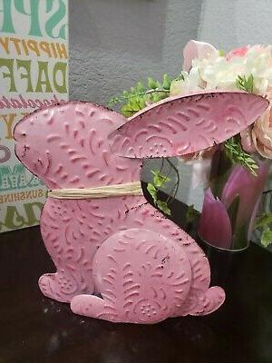 Easter Bunny Rabbit Pink Metal Tabletop Decor