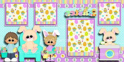 EASTER BUNNY'S LAP ~ 2 premade scrapbook pages paper DIGISCRAP